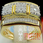MENS 14K YELLOW GOLD OVER REAL STERLING SILVER LAB DIAMOND PAVE PINKY RING BAND
