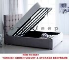 *New Modern Cube Ottoman Storage Gas Lift Up Bed Frame In Turkish Velvet Fabric*