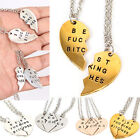Letters Printed Heart Pendant Necklaces Splice Charm Chains for Best Friendship