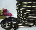 "10yds -190yds Black w/ Pale Yellow Stitched Grosgrain Ribbon 3/8"" 1cm GR24"