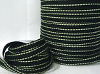 "10-190yds Black w/ Lime /Lt Greeen) Stitched Grosgrain Ribbon 3/8"" 1cm GR24"