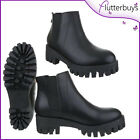 Womens Boots Black Ankle Grip sole heel Tread zip Chelsea Walking womens size