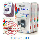 New Lot Of 100 ADATA Class 4 8GB MicroSD Micro SD SDHC TF...
