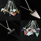 Amethyst Crystal Onyx Triangle Reiki Chakra Silver Gold Pendant Chain Necklace