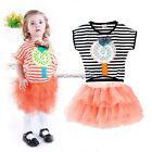 Baby 2Pcs Girls Kids Striped Tutu Dress Top +Skirt Outfits Clothes 2-9Y NC89