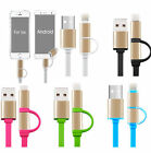 2 in 1 micro USB + Lightning Connector Charger Adapter Cable For iPhone Android