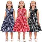 GK Children Kids Girls Retro Vintage Sleeveless Lapel Collar Polka Dots Dress