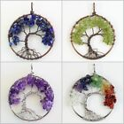 Natural Amethyst Lapisi Peridot Chip Beads Tree of Life Pendant Fit Necklace
