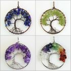 Natural Amethyst Lapis Lazuli Peridot Chips Tree of Life Pendant Fit Necklace