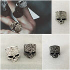 Anello skeleton teschio strass silver plated color argento punk rock gothic bike