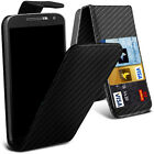 Phone Case Cover Protection - Top Flip Carbon Fibre Textured PU Leather -100% UK