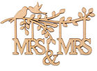 Wooden MDF Branch Shape with Birds, Family Tree Branch, Wedding- 'MRS & MRS'