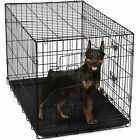 Dog Solid Metal Travel Crate Pet Cat Steel Cage Kennel Folding Divider Tray NIB