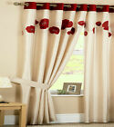 RED IVORY Poppy Head Lined Curtains Silk Look EYELET 46 66 90 108 PATIO LIVING