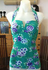 Seafolly Rococo Rose V Front Singlet Tankini Top in Envy Green RRP $139.95