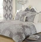 LUXURY FLORAL JACQUARD SILVER GREY ELEGANT ASCOT DUVET COVER SET OR CURTAINS