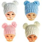 Baby boys girls knitted Winter bobble pompom hat pink blue cream white 0-24m