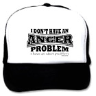 Trucker Hat Cap Foam Mesh I don't have an ANGER problem have IDIOT problem