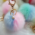 Artificial Rabbit Fur Fluffy Pom Pom Handbag Car Key Chain Ring Accessory Eager