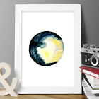CHRISTMAS MOON PRINT ORIGINAL WATERCOLOUR NEW SIGNED 2017 ABSTRACT