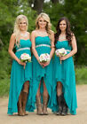 High Low Chiffon Country Bridesmaid Dresses Sweetheart Maid Of Honor Gowns WD032
