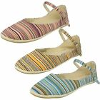 Ladies Spot On Flat Espadrilles with Strap
