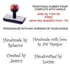 PERSONALISED HANDMADE BY RUBBER STAMP 11631 BESPOKE CARD MAKING CRAFTS HOBBY