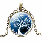 Women Retro Bronze Tree Pendant Chain Starry Choker Chunky bib Statement Necklac