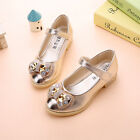 New Kids Young Girls Princess Leather Shoes Rhinestone Bow Sweet Dresss Dance