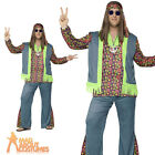 Mens Plus Size Hippie Costume 60s 70s Hippy Groovy CND Fancy Dress Outfit