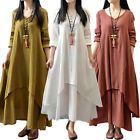 Womens Peasant Ethnic Boho Cotton Linen Long Maxi Dress Tops Gypsy Blouse Shirt