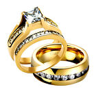 His Hers 3 Pc Gold Plated Stainless Steel & Titanium Wedding Ring Set eb
