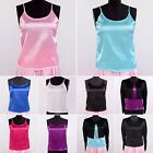 Womens Girls 16 Momme 100% Pure Silk Cami Singlet Tops Shirts Blouse Camisole