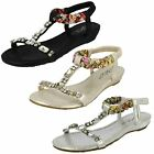 Spot On Ladies Low Wedge Jewelled Sandals -Style 746