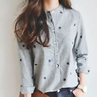 Hot Womens Autumn Leaves Embroidery Long Sleeve Striped Casual Shirt Tops Blouse