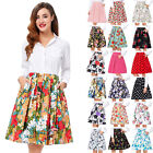 2017 New Womans Full Circle Swing Skirt 60s 50s Evening Floral Retro Shirt Dress