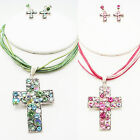 """ICON 17"""" PINK or GREEN CRYSTAL ACRYLIC CROSS NECKLACE EARRINGS SILVER SET NEW"""