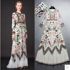 Womens Runway Embroidered Floral Lace Long Sleeve Dress Chic Luxury Hollow Boho