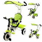4-In-1 Kids Baby Stroller Tricycle Training Learning Toy Bike w / Canopy Basket