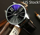 Men's Business Watch Stylish Round Leather Quartz Analog Wristwatch For Lovers