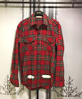 New White Painting Graphic Long Sleeves Plaid Check Shirts Red Navy Green
