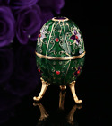 Quality Green Flower Crystal Faberge Egg Russian European Trinket Jewellery Box