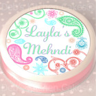 "Mehndi Cake Topper - Personalised - Wafer or  Icing - 7.5"" Round"