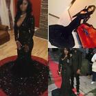 2017 Black Mermaid Sequines Evening Party Long Prom Dresses Formal Pageant Gown