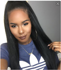 Italian Yaki Full Lace Wig Indian Remy Human Hair 360 Frontal Wigs Pre Plucked