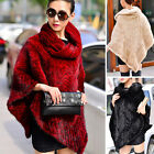 Luxury 100% Real Farm Knitted Mink Fur Poncho New Year Gift Cape Coat Stole