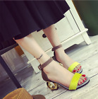 Womens Mixed Color Mid Heels Ankle Strappy Shoes Sandals Casual Peep Toe I682