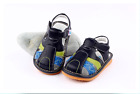 Boy's Infant Toddler Children's Squeaky Shoes  Navy Blue Real Leather Sandals