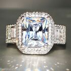 Fashion 925 Silver Filled White Sapphire Birthstone Engagement Wedding Gift Ring