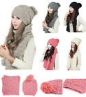 Lady Girls' New Fashion Cap & Scarf Combo Sets Winter Hats Warm Knitted